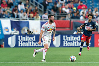 FOXBOROUGH, MA - JUNE 23: Thomas Edwards #7 of New York Red Bulls looks to pass during a game between New York Red Bulls and New England Revolution at Gillette Stadium on June 23, 2021 in Foxborough, Massachusetts.