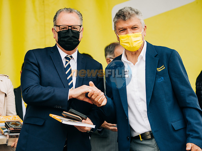 Richard Ferrand President de l'Assemblee Nationale and Bernard Thevenet A.S.O. at the opening of Stage 1 of the 2021 Tour de France, running 197.8km from Brest to Landerneau, France. 26th June 2021.  <br /> Picture: A.S.O./Romain Laurent | Cyclefile<br /> <br /> All photos usage must carry mandatory copyright credit (© Cyclefile | A.S.O./Romain Laurent)