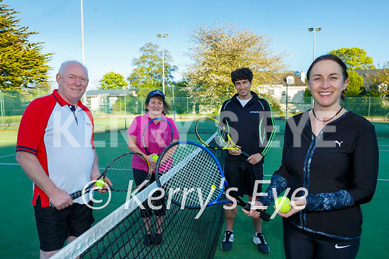 New balls please Aidan Carey, Carole Cronin, Leon Diggins and Marie O'Keeffe enjoying a game of Tennis Killarney tennis club on Monday evening