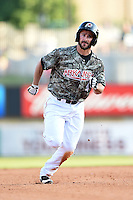 Arkansas Travelers outfielder Drew Heid (4) runs the bases during a game against the San Antonio Missions on May 25, 2014 at Dickey-Stephens Park in Little Rock, Arkansas.  Arkansas defeated San Antonio 3-1.  (Mike Janes/Four Seam Images)