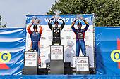 Simon Pagenaud, Team Penske Chevrolet, Scott Dixon, Chip Ganassi Racing Honda, Alexander Rossi, Andretti Autosport Honda, celebrate on the podium