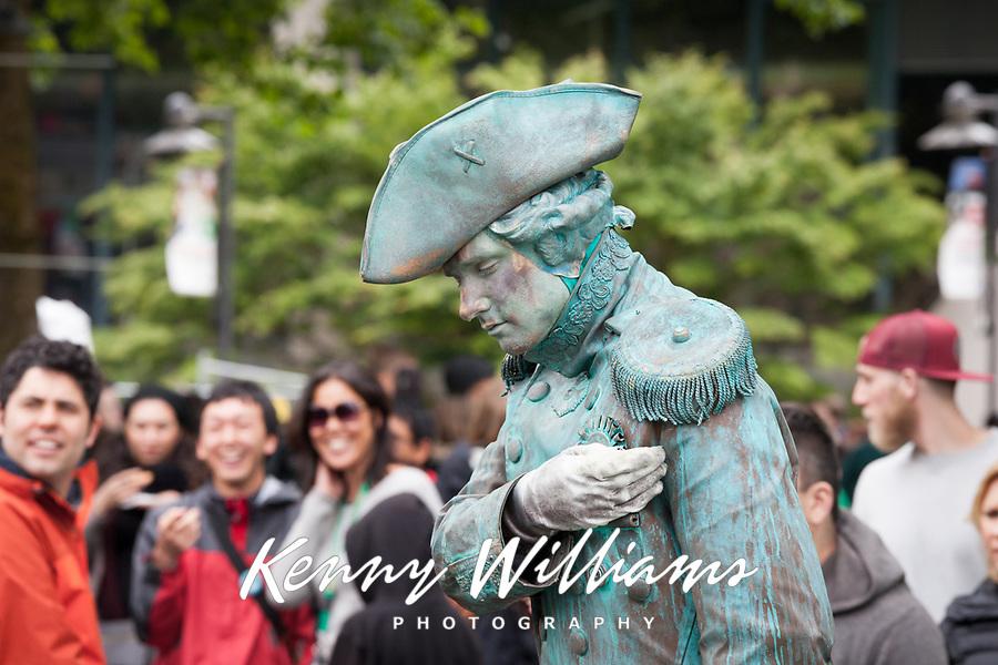 Civil War statue street performer, Northwest Folklife Festival 2016, Seattle Center, Washington, USA.