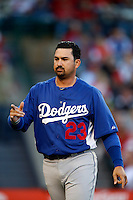 Adrian Gonzalez #23 of the Los Angeles Dodgers during a game against the Los Angeles Angels in both teams final spring training game at Angel Stadium on March 30, 2013 in Anaheim, California. (Larry Goren/Four Seam Images)