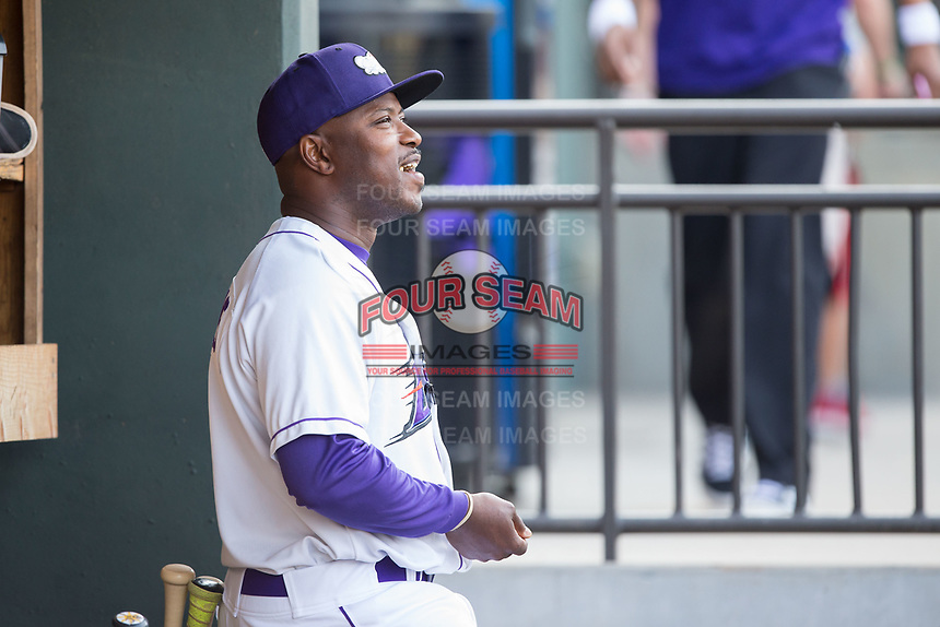 Winston-Salem Dash manager Willie Harris (1) during the game against the Buies Creek Astros at BB&T Ballpark on April 15, 2017 in Winston-Salem, North Carolina.  The Astros defeated the Dash 13-6.  (Brian Westerholt/Four Seam Images)