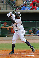 Charleston Riverdogs right fielder Kelvin de Leon #31 at bat during a game against the Savannah Sand Gnats at Joseph P. Riley Jr. Park on May 16, 2012 in Charleston, South Carolina. Charleston defeated Savannah by the score of 14-5. (Robert Gurganus/Four Seam Images)