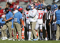 Ole Miss head coach Lane Kiffin looks on, Saturday, October 17, 2020 during the first quarter of a football game at Donald W. Reynolds Razorback Stadium in Fayetteville. Check out nwaonline.com/201018Daily/ for today's photo gallery. <br /> (NWA Democrat-Gazette/Charlie Kaijo)