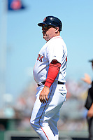Boston Red Sox first base coach Arnie Beyeler #43 during a Spring Training game against the Miami Marlins at JetBlue Park on March 27, 2013 in Fort Myers, Florida.  Miami defeated Boston 5-1.  (Mike Janes/Four Seam Images)