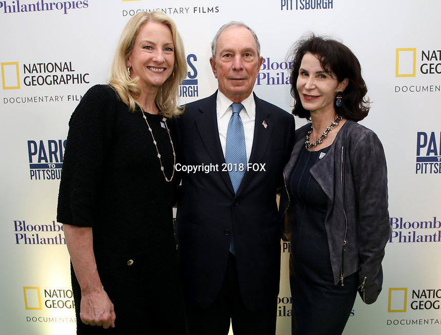 """LONDON, UK - DECEMBER 11: Mary Thompson, Michael Bloomberg and Katherine Oliver attend the London Premiere of Bloomberg and National Geographic's """"Paris to Pittsburgh"""" at the BAFTA Theatre on December 11, 2018 in London, UK. (Photo by Vianney Le Caer/National Geographic/PictureGroup)"""