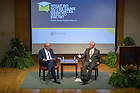 """Nov. 4, 2014; Richard Brodhead, president of Duke University and John T. McGreevy, Dean of Arts and Letters, discuss the importance of the humanities in higher education following Brodhead's speech. Brodhead's talk explored """"The Once and Future Liberal Arts,"""" as part of Notre Dame 2014-2015 Forum.  (Photo by Barbara Johnston/University of Notre Dame)"""