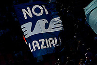 A flag of Lazio fans is seen during the Serie A football match between Bologna FC and SS Lazio at Renato Dall'Ara stadium in Bologna (Italy), October 3rd, 2021. Photo Andrea Staccioli / Insidefoto
