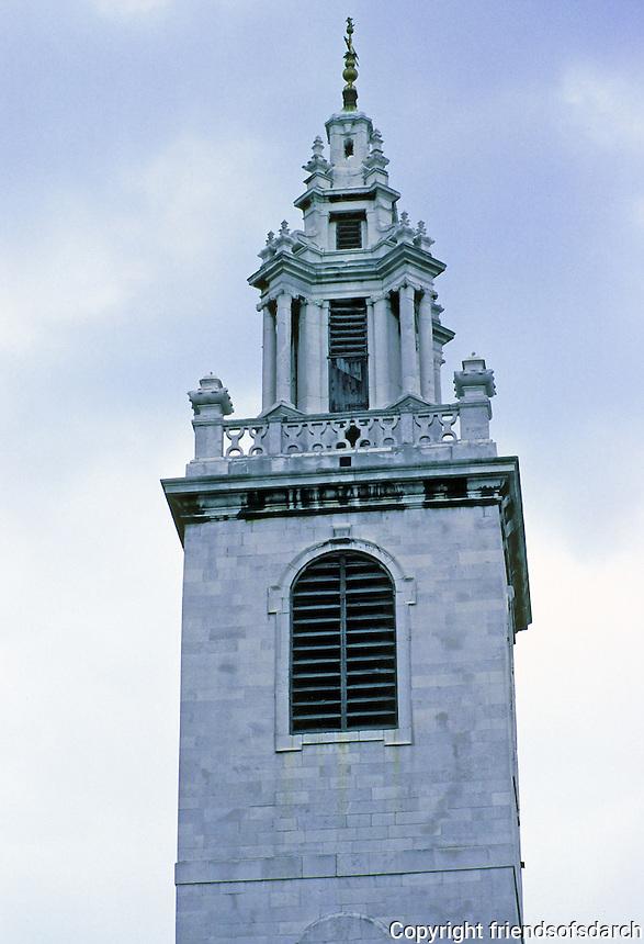 Sir Christopher Wren: St. James Garlickhythe, London. Detail of steeple.