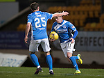 St Johnstone v Ross County… McDiarmid Park..     SPFL<br />Danny Swanson celebrates his penalty with Chris Kane<br />Picture by Graeme Hart.<br />Copyright Perthshire Picture Agency<br />Tel: 01738 623350  Mobile: 07990 594431