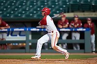 Stephen Pitarra (7) of the North Carolina State Wolfpack follows through on his swing against the Boston College Eagles in Game Two of the 2017 ACC Baseball Championship at Louisville Slugger Field on May 23, 2017 in Louisville, Kentucky. The Wolfpack defeated the Eagles 6-1. (Brian Westerholt/Four Seam Images)