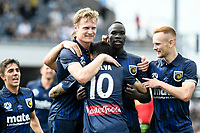 3rd January 2021; Campbelltown Stadium, Leumeah, New South Wales, Australia; A League Football, Macarthur FC versus Central Coast Mariners; Daniel De Silva of Central Coast Mariners celebrates with teammates after scoring to make it 1-0 in the 35th minute
