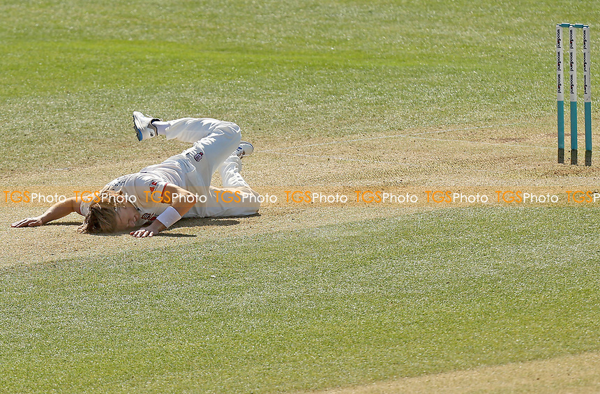 Aaron Beard of Essex crashes to the floor during Essex CCC vs Kent CCC, Friendly Match Cricket at The Cloudfm County Ground on 29th March 2021