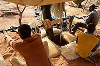 BURKINA FASO , Fada N´Gourma, village TINDANGOU, gold mining Camp PAMA, artisanal gold mines, winch to lift up the ore