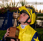 October 14, 2018:  Jockey Andrea Atzeni personally celebrates winning the Pattison Turf Race at Woodbine race Track in Toronto, Cananda.  The G1 was an $800,000 event as Desert Encountre came from last (11th) to win. Dan Heary/Eclipsesportswire/CSM