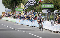 World Champion Julian Alaphilippe (FRA/Deceuninck - QuickStep) holding a chasing favourites group off and winning stage 1 from Brest to Landerneau (198km)<br /> <br /> 108th Tour de France 2021 (2.UWT)<br /> <br /> ©kramon