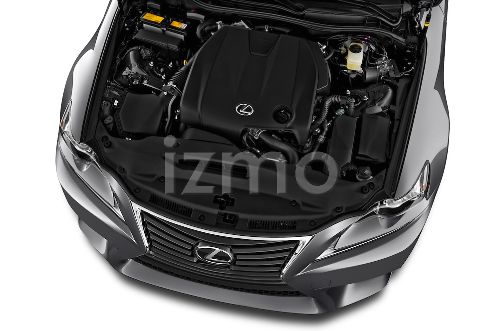 High angle engine detail of a  2014 Lexus IS 250 Sedan