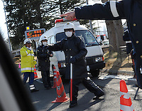 A road-block near Fukushima, 60 km from the Fukushima Daiichi Nuclear Power Plant. Plant was damaged during the  Earthquake and following Tsunami that struck Japan 11th March 2011..17 Mar 2011