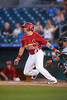 Palm Beach Cardinals left fielder Thomas Spitz (43) at bat during a game against the Jupiter Hammerheads  on August 12, 2016 at Roger Dean Stadium in Jupiter, Florida.  Jupiter defeated Palm Beach 9-0.  (Mike Janes/Four Seam Images)