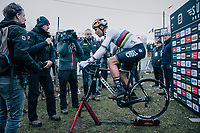 CX World Champion Wout Van Aert (BEL/Cibel-Cebon) warming down straight after the race<br /> <br /> Superprestige Zonhoven (BEL) 2018