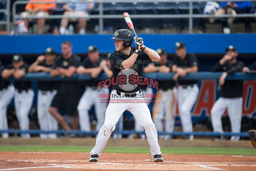 Jonathan Pryor (11) of the Wake Forest Demon Deacons at bat against the Florida Gators in Game Three of the Gainesville Super Regional of the 2017 College World Series at Alfred McKethan Stadium at Perry Field on June 12, 2017 in Gainesville, Florida. The Gators defeated the Demon Deacons 3-0 to advance to the College World Series in Omaha, Nebraska. (Brian Westerholt/Four Seam Images)