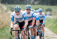 André Greipel (DEU/Israel-StartUp Nation) leading the way during the reconnaissance of the (delayed, due to the Covid19 pandemic) Paris-Roubaix course by Team Israel - StartUp Nation <br /> <br /> Nord-Pas de Calais region (FRA), 17 july 2020<br /> ©kramon