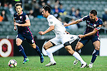 Cameron Neru of Auckland City (l) fights for the ball with SC Kitchee Midfielder Fernando Augusto (r) during the Nike Lunar New Year Cup 2017 match between SC Kitchee (HKG) and Auckland City FC (NZL) on January 31, 2017 in Hong Kong, Hong Kong. Photo by Marcio Rodrigo Machado / Power Sport Images