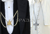 Pectoral Cross of Pope Francis,Anticamera Pontificia private apostolic palace at the Vatican.Pope Francis during his weekly general audience in St. Peter square at the Vatican, Wednesday.23 October  2013