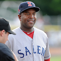 Manager Billy McMillon (13) of the Salem Red Sox in a game against the Potomac Nationals on June 8, 2012, at Pfitzner Stadium in Woodbridge, Virginia. (Tom Priddy/Four Seam Images)