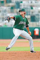 Augusta GreenJackets relief pitcher Steven Okert (15) in action against the Greensboro Grasshoppers at NewBridge Bank Park on August 11, 2013 in Greensboro, North Carolina.  The GreenJackets defeated the Grasshoppers 6-5 in game one of a double-header.  (Brian Westerholt/Four Seam Images)