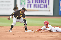 Bristol Pirates second baseman Carlos Ozuna #3 fields and applies the tag as Casey Turgeon #8 slides in safely during a game against the Johnson City Cardinals at Howard Johnson Field July 20, 2014 in Johnson City, Tennessee. The Pirates defeated the Cardinals 4-3. (Tony Farlow/Four Seam Images)
