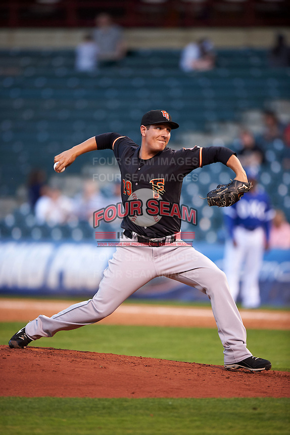 Fresno Grizzles pitcher Asher Wojciechowski (29) delivers a pitch during a game against the Oklahoma City Dodgers on June 1, 2015 at Chickasaw Bricktown Ballpark in Oklahoma City, Oklahoma.  Fresno defeated Oklahoma City 14-1.  (Mike Janes/Four Seam Images)