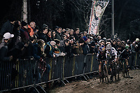 Pauline Ferrand-Prevot (FRA/Canyon-SRAM), Sanne Cant (BEL/Iko-Beobank) & Maud Kaptheijns (NED/Crelan-Charles) plowing through the sand<br /> <br /> Women's Race<br /> Superprestige Diegem / Belgium 2017