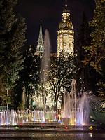 Singende Fontäne Spievajuca fontana und St.-Elisabeth Dom,  Kosice, Kosicky kraj, Slowakei, Europa<br /> Singing fountain and Cathedral St. Elizabeth in Kosice, Kosicky krajj, Slovakia, Europe