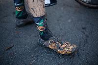 Maud Kaptheijns (NED/Crelan-Charles) post race muddy shoes.<br /> <br /> women's elite race<br /> Flandriencross Hamme / Belgium 2017