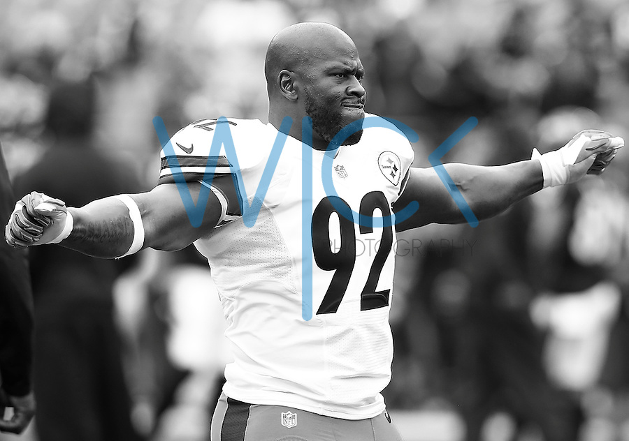 James Harrison #92 of the Pittsburgh Steelers warms up prior to the game against the Baltimore Ravens at M&T Bank Stadium on December 27, 2015 in Baltimore, Maryland. (Photo by Jared Wickerham/DKPittsburghSports)