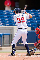 Joe Leonard #39 of the Rome Braves at bat against the Greenville Drive at State Mutual Stadium July 25, 2010, in Rome, Georgia.  Photo by Brian Westerholt / Four Seam Images