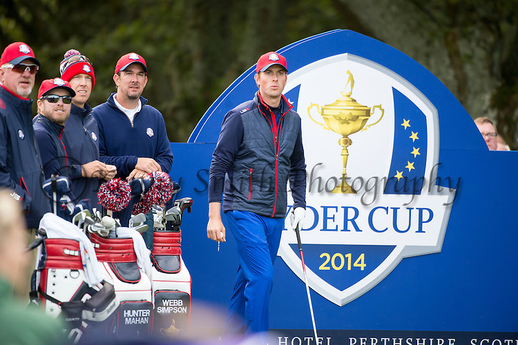 American Jordan Speith watches on from the 11th tee as his team mates tee off during a practice session at Gleneagles Golf Course, Perthshire. Photo credit should read: Kenny Smith/Press Association Images.