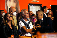 The journalist Marco Travaglio and the former minister Alfonso Pecoraro Scanio on the stage during the closing of the election campaign for the new mayor of the city.<br /> Rome (Italy), October 1st 2021<br /> Photo Samantha Zucchi Insidefoto
