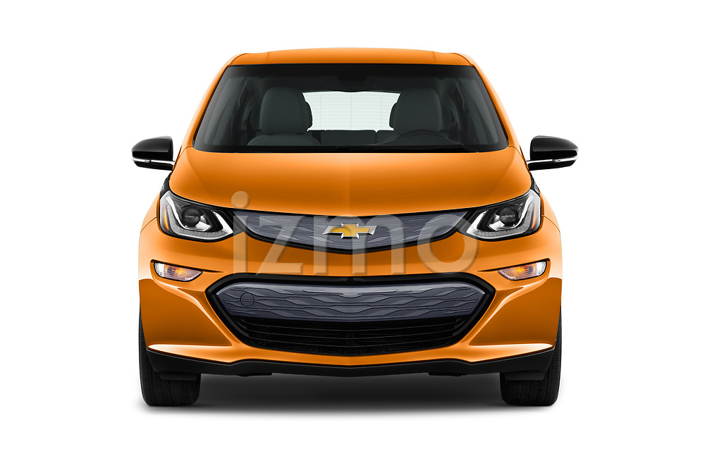 Car photography straight front view of a 2019 Chevrolet Bolt-EV LT 5 Door Hatchback Front View