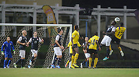 Antigua and Barbuda, Friday, Oct 12, 2012: The USA Men's National Team 2-1 over Antigua and Barbuda in the first round of qualifying for the 2014 World Cup. Eddie Johnson battles for a head ball with Thomas Tamorley-Kaharie