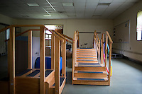 Small staircases and other equipment provides Fernald residents with an opportunity to use motor skills and other senses at the Fernald Developmental Center in Waltham, Mass., USA.
