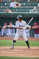 Ismaldo Rodriguez (6) of the Idaho Falls Chukars at bat against the Orem Owlz at Melaleuca Field on July 14, 2019 in Idaho Falls, Idaho. The Owlz defeated the Chukars 6-2. (Stephen Smith/Four Seam Images)