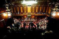 A general view from the press tribune during the Italian Prime Minister Giuseppe Conte's information about Covid-19 emergency at the Senate. Rome (Italy), July 28th 2020<br /> Photo Samantha Zucchi Insidefoto
