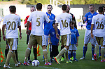 St Johnstone v FC Luzern...24.07.14  Europa League 2nd Round Qualifier<br /> Dave Mackay shakes hands with Kaja Rogulj prior to kick off<br /> Picture by Graeme Hart.<br /> Copyright Perthshire Picture Agency<br /> Tel: 01738 623350  Mobile: 07990 594431