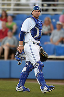 Dunedin Blue Jays catcher Mike Reeves (23) during a game against the Clearwater Threshers on April 10, 2015 at Florida Auto Exchange Stadium in Dunedin, Florida.  Clearwater defeated Dunedin 2-0.  (Mike Janes/Four Seam Images)
