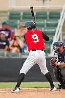 D.J. Jarrad (9) of the Kannapolis Intimidators at bat against the Rome Braves at CMC-Northeast Stadium on August 5, 2012 in Kannapolis, North Carolina.  The Intimidators defeated the Braves 9-1.  (Brian Westerholt/Four Seam Images)