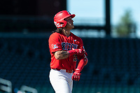 Arizona Wildcats third baseman Nick Quintana (13) jogs towards first base after being walked during an NCAA exhibition game against Cal State Fullerton at Sloan Park on October 28, 2018 in Mesa, Arizona. (Zachary Lucy/Four Seam Images)
